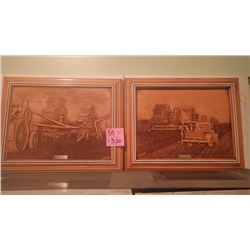 """SET OF 2 """"HARVEST TIME"""" AND """"TAKING A BREAK"""" CARVED PICTURES BY KIM MURRAY"""