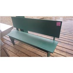 TWO GREEN WOODEN BENCHES FOR OUTDOORS