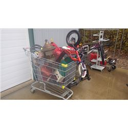 THREE SHOPPING CARTS FILLED WITH BICYCLES, MISC GAS CANS, BIRD FEEDER, 2 DISPLAY RACKS, SCOOTER AND