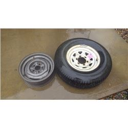 NEW TRAILER TIRE - 6 HOLE - ST 22 -75-15 AND RIM