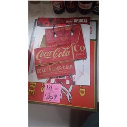 "COCA-COLA CARRIER WITH METAL HANDLE ""6 FOR 25¢"" PLUS ASIAN COCA-COLA MAGAZINE AND METAL REPRO SIGN"
