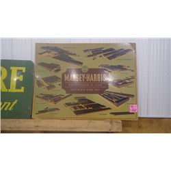 MASSEY HARRIS CARDBOARD SIGN AND SMALL MASSEY FERGUSAN METAL RACK