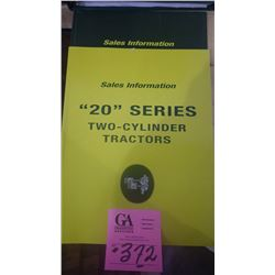 "SALES INFO BOOK ON ""20"" AND ""30"" J.D. TRACTORS"
