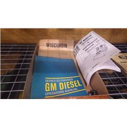 TRAY OF SERVICE AND REPAIR MANUALS FOR WISCONSINAIR COOLED ENGINES MODELS V-G, 4D, VE4, VF4, AEN, AE