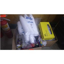 TWO BOXES OF DISPOSABLE CUPS, PLATES, CUTLERY, ETC.