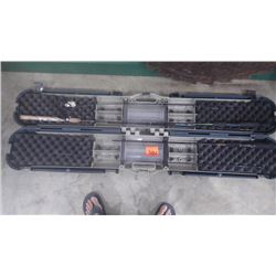 HARD SHELL FISHING CASE WITH TWO UGLY STICK AND ONE BERKLY PRO FISHING RODS
