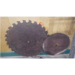 "TWO LARGE CIRCULAR SAW BLADES APPROX 36"" AND 24"""