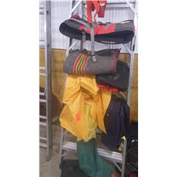 GROUPING INCLUDES LIFE VEST, RAIN GEAR, CABELLA FISHING TACKLE BOX, SUSPENDERS, ETC.