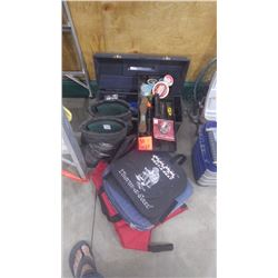 GRUPING OF ICE FISHING EQUIPMENTINCLUDES TACKLE BOX, SNOW BOOTS, AND SEAT PADS