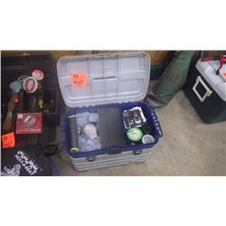 FISHING EQUIPMENT INCLUDES ROD HOLDER, NET,AND LARGE TACKLE BOX
