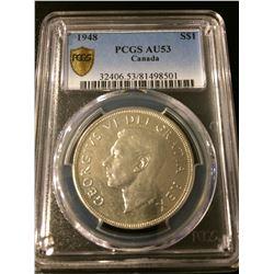 1948 Canada Dollar PCGS AU53 Rare!! Value:$1700