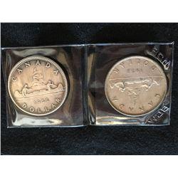 (2) Coin set - 1953-1966 Canada Dollar
