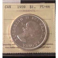 1959 Canada Silver Dollar ICCS PL66