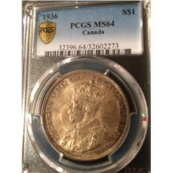 1936 Canada Dollar PCGS MS64