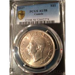 1937 Canada Dollar PCGS AU58