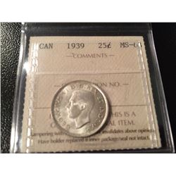 1939 Canada Twenty Five Cents ICCS MS63