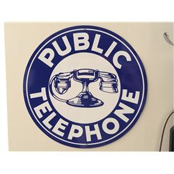 """Public Telephone"" - Metal Sign. Excellent Condition."