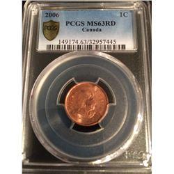 """2006 Canada 1 Cent - """"MAGNETIC"""" (NO LOGO-NO P) PCGS 63 RED"""