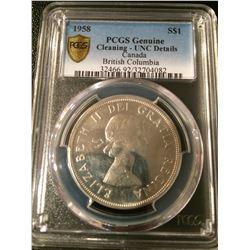 1958 Canada Dollar PCGS UNC Details