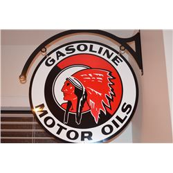 Gasoline (Indian) Motor Oils - Double sided metal sign and hanger - Mint Condition!!