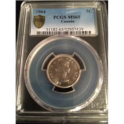 1964 Canada 5 Cent PCGS MS65