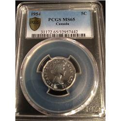 1954 Canada 5 Cent PCGS MS65