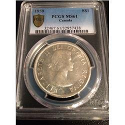 1959 Canada Dollar PCGS MS61