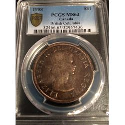 1958 Canada Dollar PCGS MS63