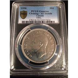 1950 Canada Dollar PCGS AU Details SWL