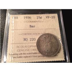 1936 Canada 25 Cents *BAR* ICCS VF20