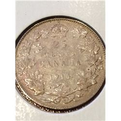 1914 Canada 25 Cent (F-VF)