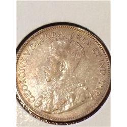 1918 Canada 25 Cent (VF-EF) Nice Golden Patina!