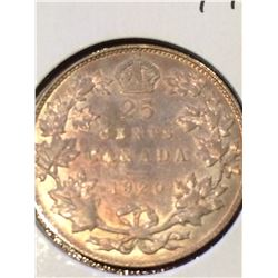 1920 Canada 25 Cent (VF-EF) Nice Golden Patina!