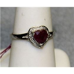 """Ladys Very Fancy 18 kt White Gold over Sterling Silver """"Heart Shape"""" Pigeon Blood Ruby & Diamond Rin"""