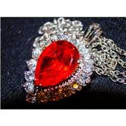 Ladys Gorgeous Sterling Sapphire & Red Garnet Necklace