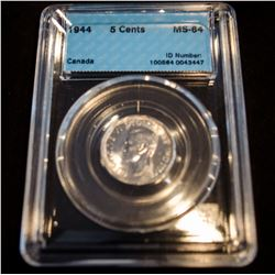 1944 Canada 5 Cents - CCCS MS-64