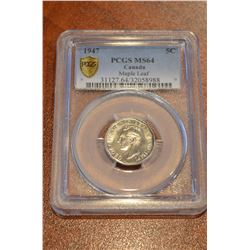 1947 Canada Maple Leaf Nickel - PCGS MS64
