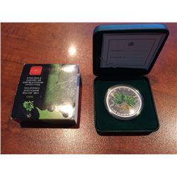 2002 RCM - Maple leaf Colored Green Maple Leaf 1oz Silver