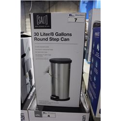 30L STAINLESS STEEL STEP GARBAGE CAN