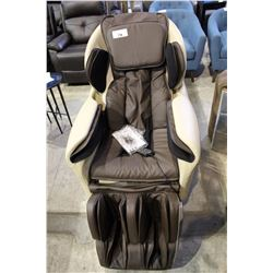 BROWN & BEIGE LEATHER TITAN MASSAGE CHAIR RETAILS $4000