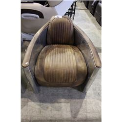 STAINLESS STEEL AND LEATHER PARLOR CHAIR