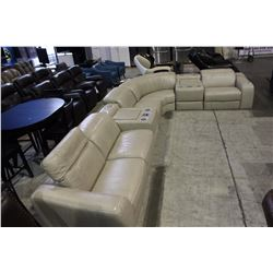 7 PIECE LEATHER SECTIONAL SOFA SET WITH IPOD CONSOLES AND SPEAKERS, CINDY CRAWFORD HOME