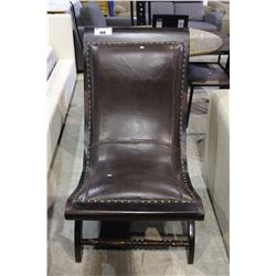 WOOD AND LEATHER PARLOR CHAIR
