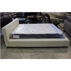 WHITE LEATHER QUEEN SIZED BEDSET