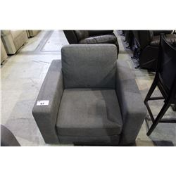 GREY UPHOLSTERED ARMCHAIR