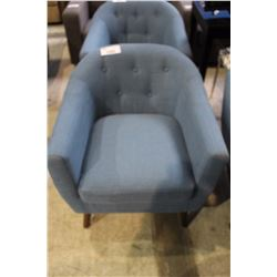 BLUE UPHOLSTERED BUTTON BACK ARM CHAIR