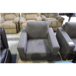 GREY UPHOLSTERED  ARM CHAIR