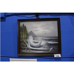 FRAMED OIL PAINTING OCEAN SCENE