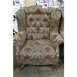 WINGED BACK UPHOLSTERED CHAIR