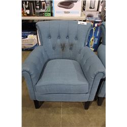 BLUE BUTTON BACK UPHOLSTERED CHAIR